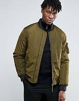 Куртка бомбер Bellfield - Hubble зеленого цвета хаки мужская (чоловіча)
