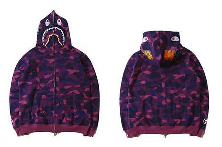 Мужская Худи Bape  shark hoodie Camo Purple