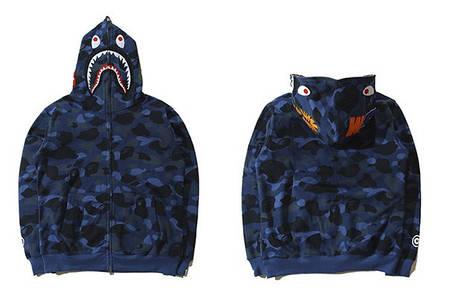 Мужская Худи Bape  shark hoodie Camo Blue