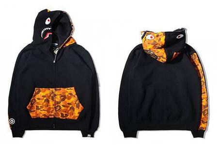 Мужская Худи Bape  shark hoodie Black вставки Camo Yellow