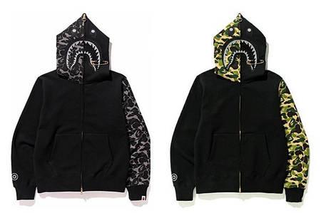 Мужская Худи Bape  shark hoodie Black вставки Camo + игла