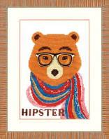 Набор для вышивания крестом Crystal Art Медведь-хипстер
