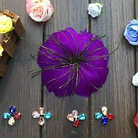 Перо-цветок декоративный Фиолетовый 12 см 1 шт
