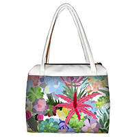 Белая женская сумка Сатчел с принтом Цветы