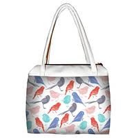 Белая женская сумка Сатчел с принтом Птички