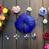 Перо-цветок декоративный Синий 12 см 1 шт