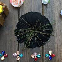 Перо-цветок декоративный Черный 12 см 1 шт