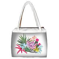 Белая женская сумка Сатчел с принтом Цветочный бум