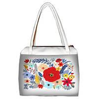 Белая женская сумка Сатчел с принтом Букет
