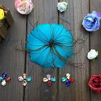 Перо-цветок декоративный Аквамариновый 12 см 1 шт