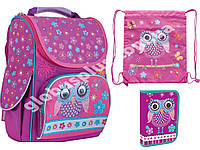 """Набор ранец ортопедический каркасный + сумка + пенал """"1 Вересня"""" Owl yes H-11, 553281-1"""