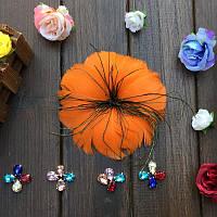 Перо-цветок декоративный Оранжевый 12 см 1 шт
