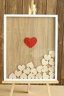 Картина с сердцами для пожеланий на свадьбе, размер 40*50 см, на 40-60 сердец