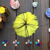 Перо-цветок декоративный Желтый 12 см 1 шт