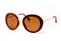 Женские очки в деревянной коричневой оправе