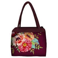 Женская сумка Сатчел марсала с принтом Маки