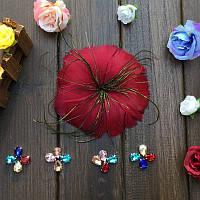Перо-цветок декоративный Бордовый 12 см 1 шт