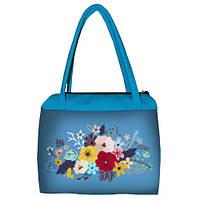 Голубая женская сумка Сатчел с принтом Цветы