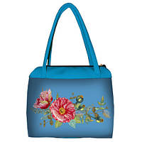Голубая женская сумка Сатчел с принтом Маки