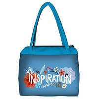 Голубая женская сумка Сатчел с принтом Цветочная фантазия