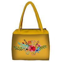 Желтая женская сумка Сатчел с принтом Цветы