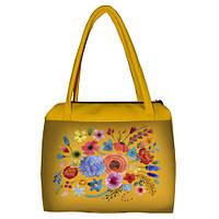 Желтая женская сумка Сатчел с принтом Цветочный бум