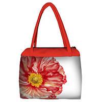 Коралловая женская сумка Сатчел с принтом Мак