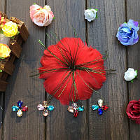 Перо-цветок декоративный Красный 12 см 1 шт