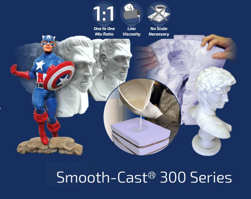 Полиуретан ярко-белый Smooth-Cast® 300 жидкий, прочный Смуз Каст 300 (комплект 0,45 кг)