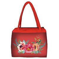 Коралловая женская сумка Сатчел с принтом Маки