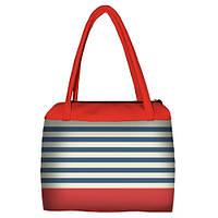 Коралловая женская сумка Сатчел с принтом Полоски
