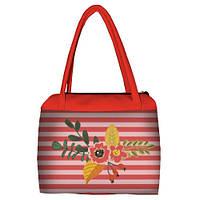 Коралловая женская сумка Сатчел с принтом Цветок