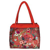Коралловая женская сумка Сатчел с принтом Цветочный бум