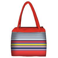 Коралловая женская сумка Сатчел с принтом яркая полоска