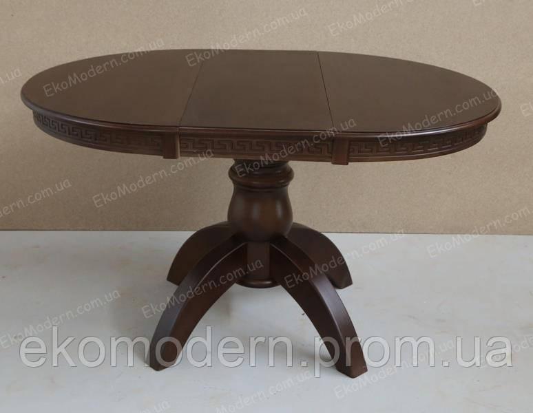 Стол раздвижной обеденный ЛЕО Премиум + (100+40 см) на одной ноге из дерева для гостиной и кухни дома