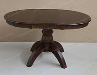 Стол раздвижной обеденный ЛЕО Премиум + на одной ноге из дерева для гостиной и кухни дома