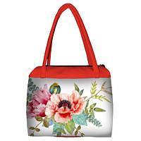 Коралловая женская сумка Сатчел с принтом Розовые маки