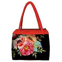 Коралловая женская сумка Сатчел с принтом Букет маков