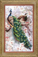 Набор для частичной вышивки крестиком Crystal Art Два павлина в цветущей магнолии