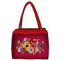 Красная женская сумка Сатчел с принтом Букет цветов