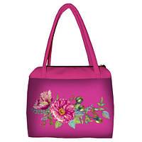 Розовая женская сумка Сатчел с принтом Букет маков