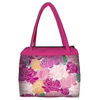 Розовая женская сумка Сатчел с принтом Пионы