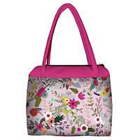 Розовая женская сумка Сатчел с принтом Цветочный бум