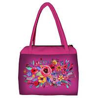 Розовая женская сумка Сатчел с принтом Букет