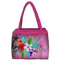 Розовая женская сумка Сатчел с принтом Цветочная нежность