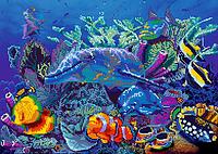 Схема для вышивки бисером POINT ART Дельфины и рыбы, размер 42х30 см