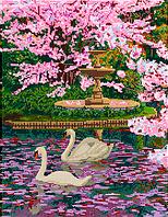 Схема для вышивки бисером POINT ART Весенний сад, размер 30х39 см