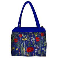 Синяя женская сумка Сатчел с принтом Маковое поле