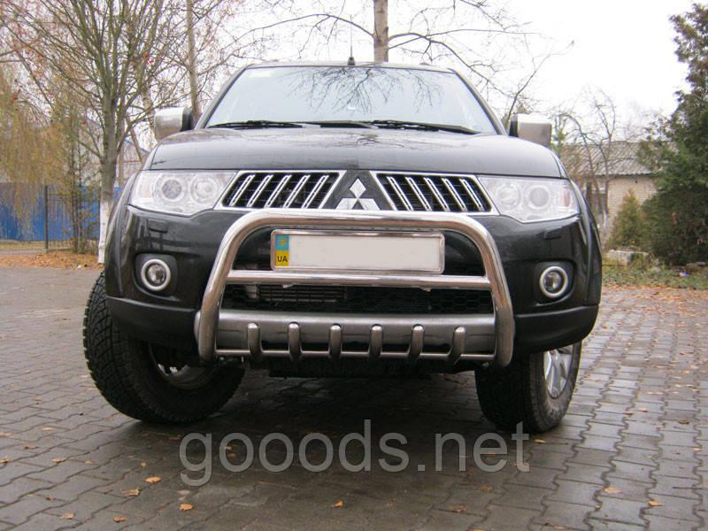 Защита передняя Mitsubishi Pajero Sport, с трубой и грилем