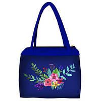 Синяя женская сумка Сатчел с принтом Цветы